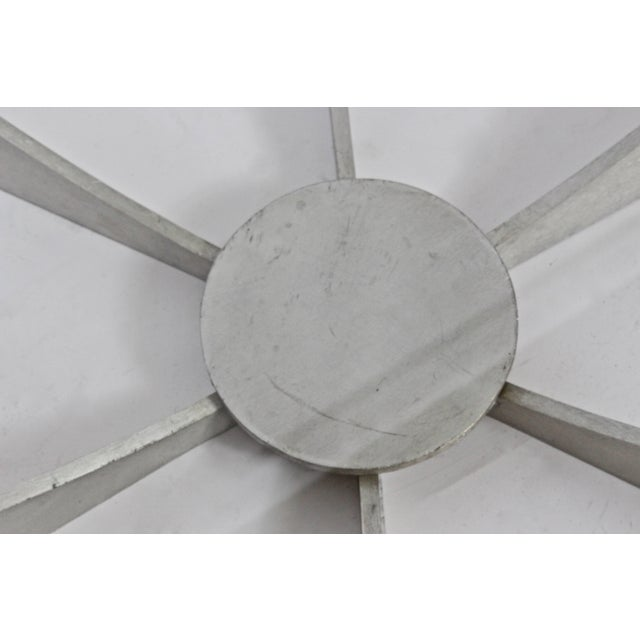 Contemporary Donald Drumm Brushed Aluminum & Glass Starburst Coffee Table For Sale - Image 3 of 6