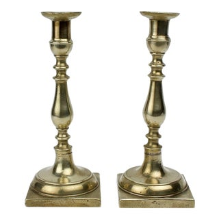 Early 19th Century Continental Brass Candlesticks - A Pair For Sale