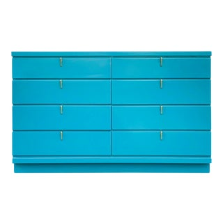 1960s Mid-Century Modern Johnson Carper Teal 8 Drawer Dresser For Sale