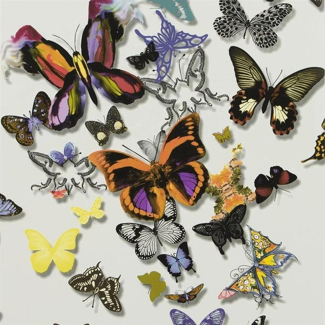 Christian Lacroix Christian Lacroix Butterfly Parade Multicolored Wallpaper Sample For Sale - Image 4 of 4