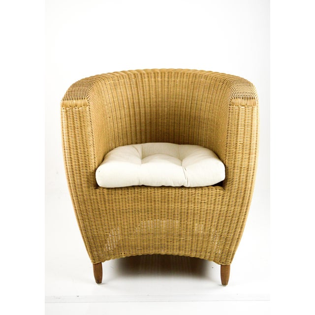 Mid-Century Modern Mid-Century Modern Wicker Tub Chairs - Pair For Sale - Image 3 of 11
