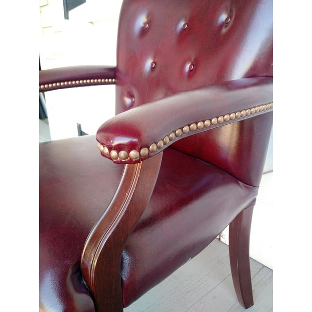 Traditional Oxblood Executive Guest Chair For Sale - Image 3 of 5