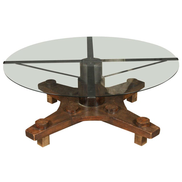 Round Glass Top Coffee Table Made From English Ship Port Part With Metal Base For Sale - Image 10 of 10
