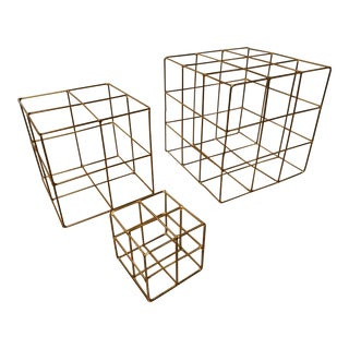Gold Metal Cubes- Set of 3 For Sale