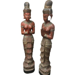 5-Ft Antique Hand-Carved Asian Statues - Pair