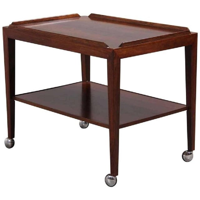 Rosewood Side Table on Wheels by Haslev, 1960s For Sale - Image 6 of 6