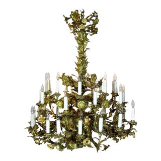 Gilt Bronze Floral Electrified 36 light chandelier For Sale