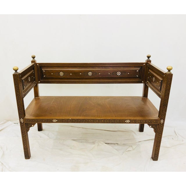 Stunning Antique Indian Wedding Bench with beautiful Mother of Pearl Inlay and Solid Gold Brass Knobs. Seats 1-3 people....