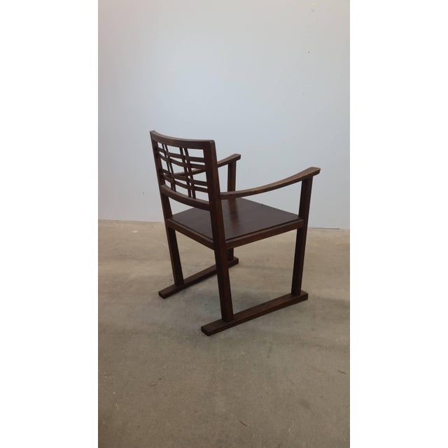 Scottish Art and Crafts chair, circa 1910. Clear Japanese influence noticeable, particularly in the arms. Constructed...