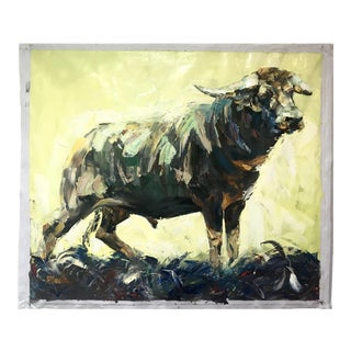 Large Bull Oil on Canvas Painting