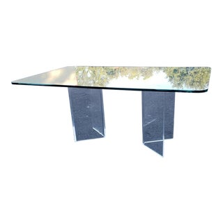 1980s Art Deco Angled Lucite Pedestal Dining Table For Sale