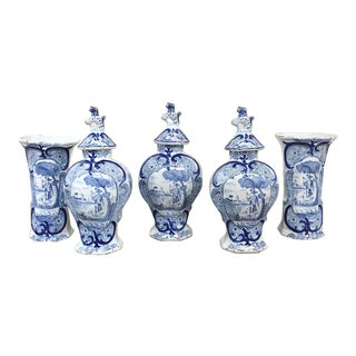 18th Century Delft Blue & White Garniture: Pair Vases & 3 Lidded Urns For Sale