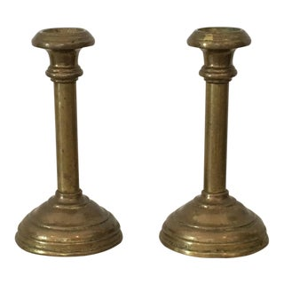 Vintage Mid-Century Brass Candleholders - A Pair For Sale