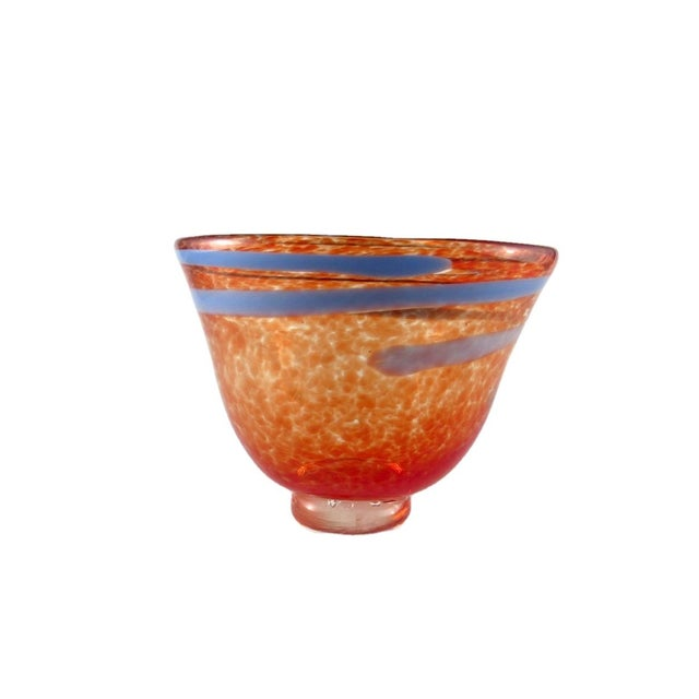 Hand Blown Mottled Orange Art Glass Bowl For Sale - Image 10 of 10