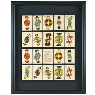Wall Art of 20 Framed Old Maid Playing Cards