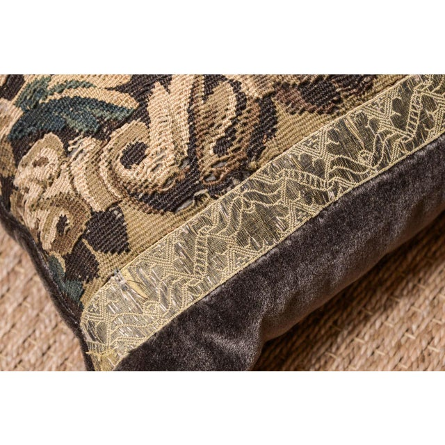 18th Century Large Lumbar Tapestry Pillow For Sale - Image 4 of 6