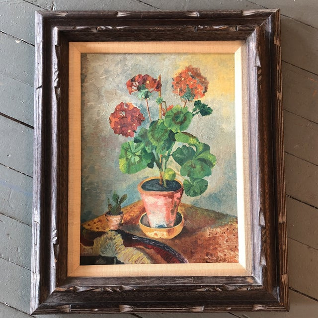 Canvas Original Vintage Mid Century Geranium Still Life Painting For Sale - Image 7 of 7