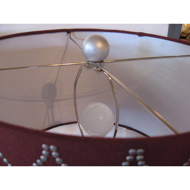 Faux Bamboo Silver Ceramic Lamps - A Pair For Sale - Image 4 of 7