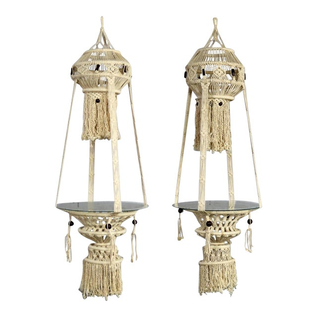 Vintage Bohemian White Macramé Hanging Tables With Round Glass Tops - a Pair For Sale