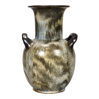 Large Roger Guerin Mottled Green Vase For Sale