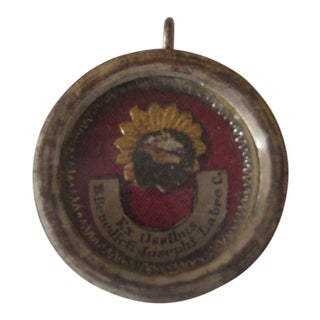 Late 19th Century Religious Reliquary Medallion Pendant For Sale