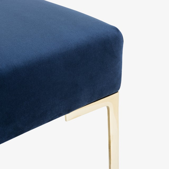 """Montage Astor 60"""" Brass Bench in Navy Velvet by Montage For Sale - Image 4 of 7"""