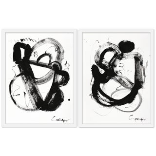 """Medium """"Noir Et Blanc, Pair"""" Print by Lesley Grainger, 38""""x25"""" - A Pair Preview"""