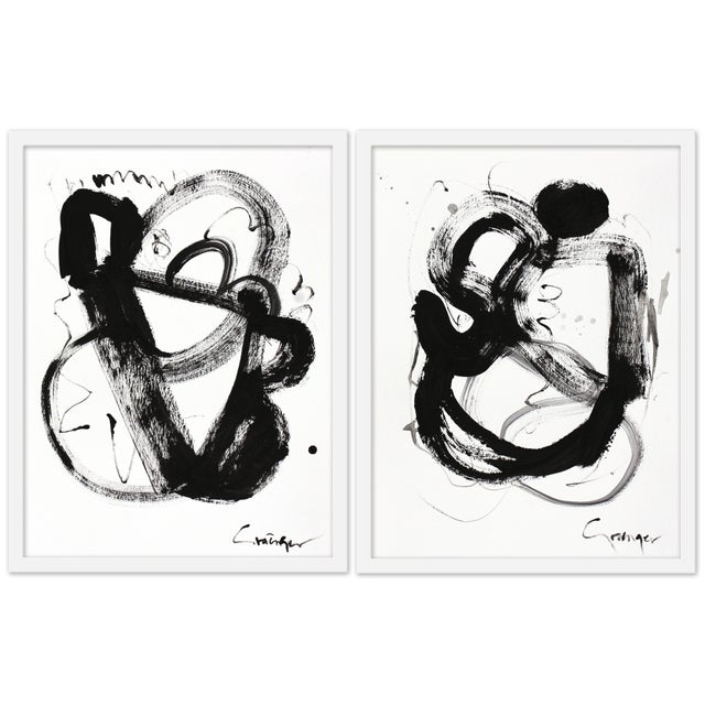 """Set of 2 giclée prints on textured fine art paper with white frames. Pair measures 38""""x25""""; individual framed print..."""