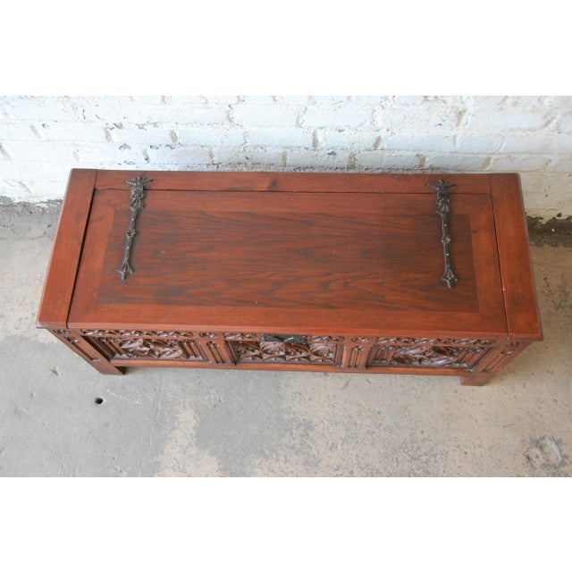 Antique Belgian Gothic Revival Carved Oak Blanket Chest, Circa 1900 For Sale In South Bend - Image 6 of 13