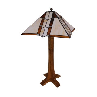Stickley Mission Collection Oak Table Lamp W/ Art Glass Shade For Sale