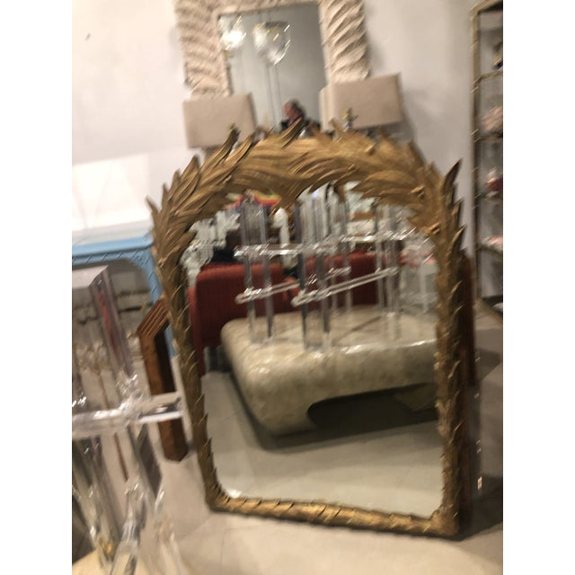 Vintage Gold Lacquered Palm Frond Wall Mirror For Sale - Image 11 of 12