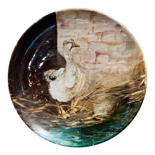 19th Century French Hand Painted Ceramic Duck Wall Platter Stamped J. Massier For Sale