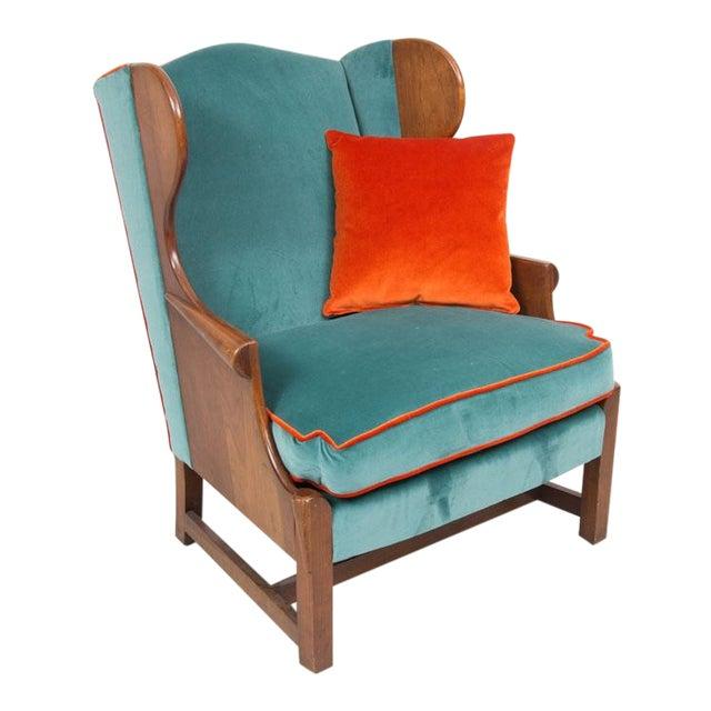 Blue Velvet Upholstered Stickley Arm Chair - Image 1 of 4
