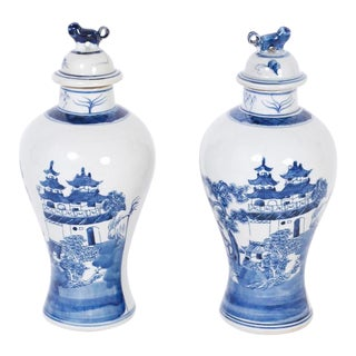 Chinese Blue and White Porcelain Lidded Jars - a Pair For Sale