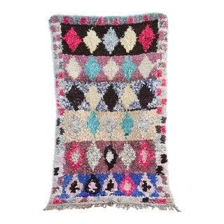 1970s Vintage Boucherouite Moroccan Wool Rug - 3′8″ × 6′7″