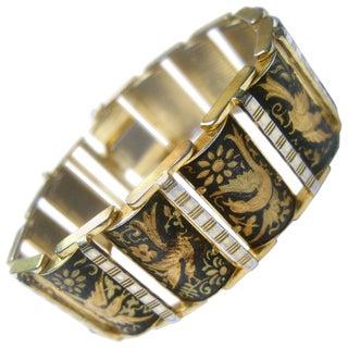 Exquisite Etched Gilt Metal Bird Link Bracelet Ca 1960 For Sale