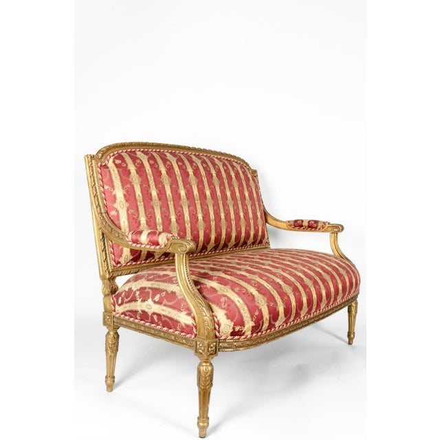 Early 19th Century Louis XVI Style Giltwood Frame Settee For Sale In New York - Image 6 of 13