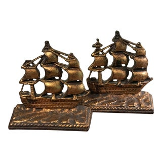 20th Century British Colonial Cast Iron Tall Ship Bookends - a Pair For Sale