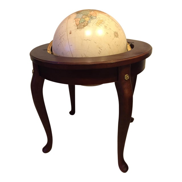 "George F. Cram Co. Floor Model Classic 16"" World Globe with Wooden Stand - Image 1 of 5"