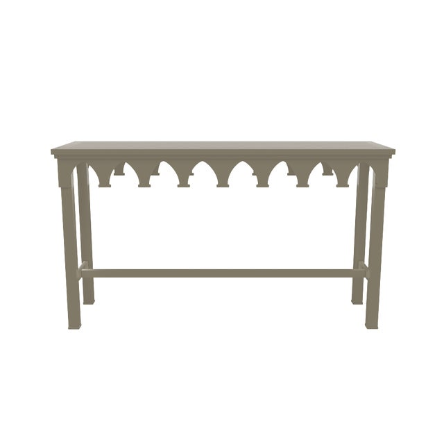 Metal Oomph Ocean Drive Outdoor Console Table, Taupe For Sale - Image 7 of 8