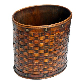 1940s Woven Wastebasket For Sale
