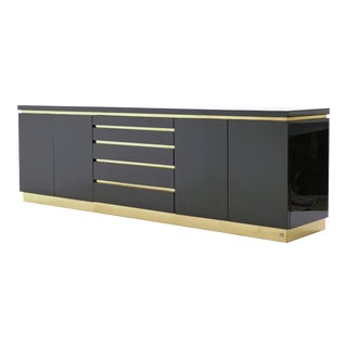 1970s J.C. Mahey Brass Black Lacquered Sideboard, Signed For Sale