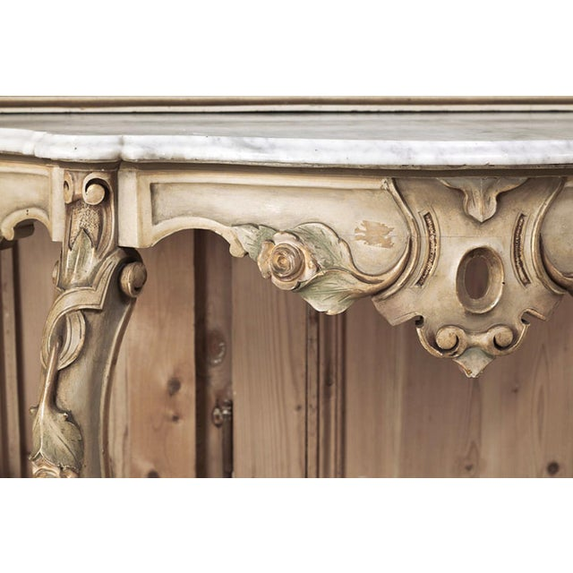 19th Century Italian Hand Painted Console and Mirror With Cararra Marble For Sale - Image 12 of 13