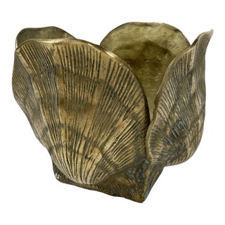 Brass Seashell Cachepot For Sale