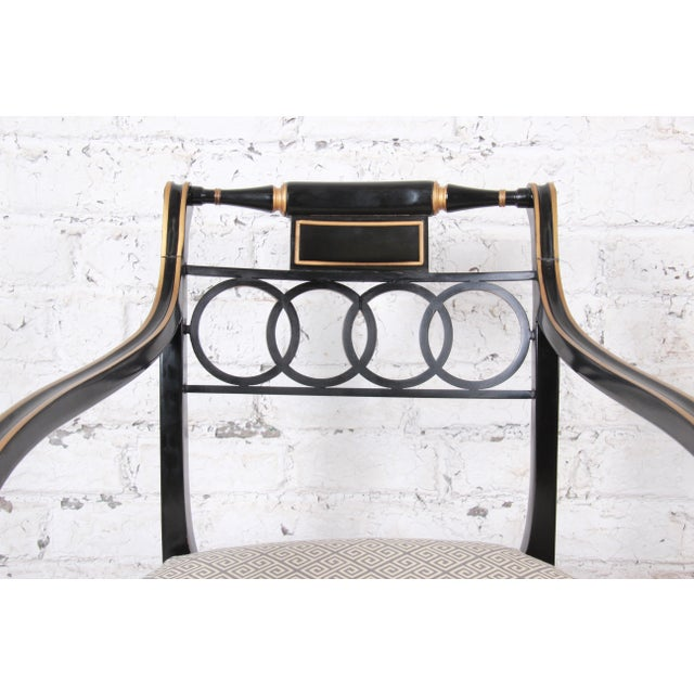 Baker Furniture Ebonized and Gold Gilt Regency Style Armchairs-Set of Six For Sale - Image 9 of 13