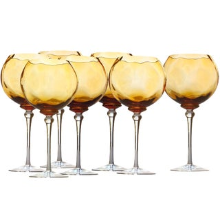 Hand Blown Amber Red Wine Glasses Signed by Artist - Set of 7 For Sale