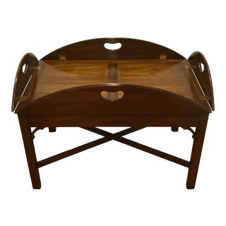 1980s Kittinger Mahogany Butler's Tray Coffee Table For Sale