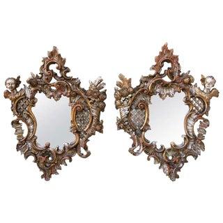 Pair of Italian Baroque Gilt Wood Mirrors W/ Cherub Faces For Sale