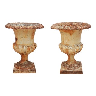 Iron New Orleans Antique Urns - A Pair For Sale