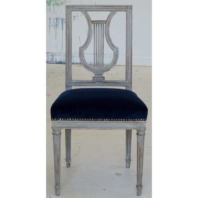 Gray French Louis XVI Lyre Back Dining Chairs in Blue Indigo Velvet For Sale - Image 8 of 8